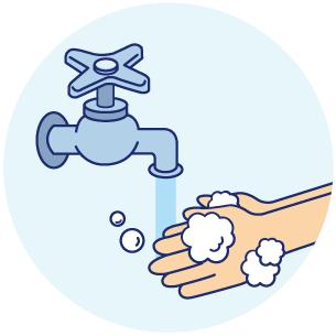 手や食器はしっかり洗う